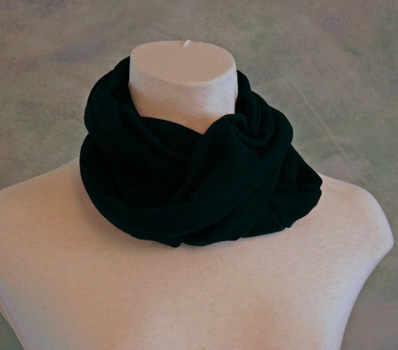 Upcycled T-shirt Black Infinity Scarf/Cowl