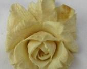 Hand Carved Ivory Flower Pendant Vintage