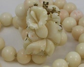 14K Yellow Gold Large Clasp Hand Carved White Coral 12mm Bead Double Strand 17.5 Inch Necklace Vintage