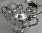 Portugal Sterling Silver 833 Standard Three Piece Tea Set Teapot Sugar Creamer with Portuguese Oporto Assay Office Mark Vintage