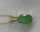 14K Yellow Gold Natural Emerald Pendant on 18 Inch 14K Fine Necklace