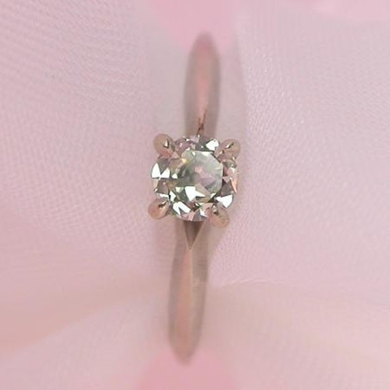Reserved for Mike 14K White Gold Diamond Solitaire One Third Carat Size 7.5 Ring Vintage
