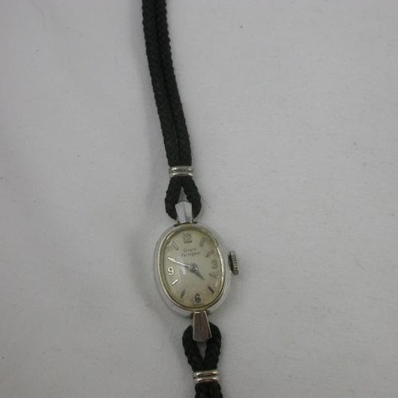 Bucherer vintage watch black cord band