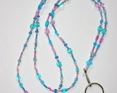Beaded Lanyard, Pink and Turquoise, Glass Beads, Lovely