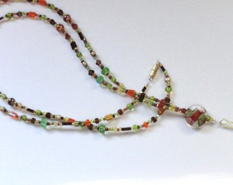 Shades of Autumn, Beaded Lanyard, Glass Beads, Lovely