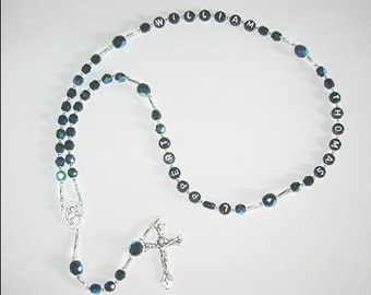 Personalized Rosary, Black, Man or Boy