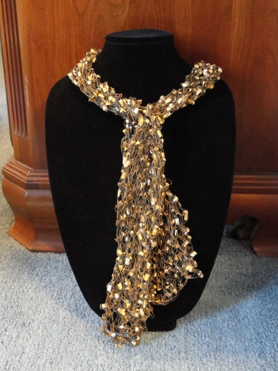 Hand Knit Scarf, Ribbon Yarn, Gold and Black, Lightweight, Variety Styles to wear,