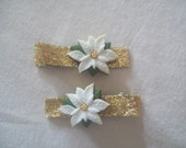 White Poinsettia Hair Clips