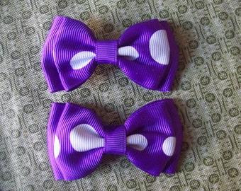 Purple with White Polka Dots Hair Bows