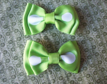 Lime Green with White Polka Dots Hair Bows