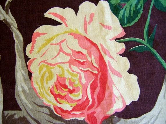 Bramble Roses Vintage 1940s Cotton Drapery Fabric