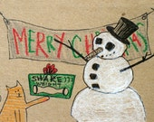 Funny Snowman Christmas Cards