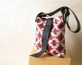 Recycled Black Leather Handbag - Bold Southwestern Red and Cream Fabric