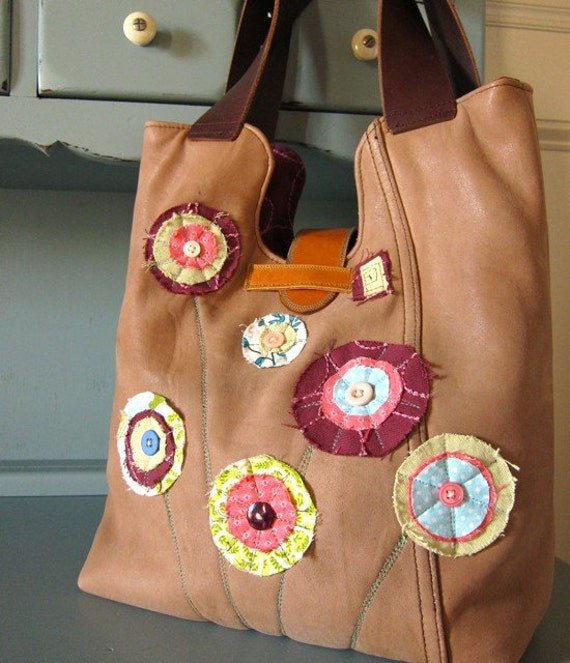 Eco Reclaimed Leather Floral Tote