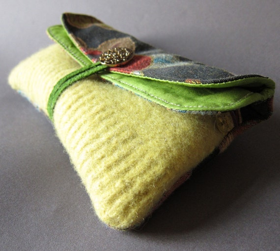 Recycled Felted Sweater Leather Clutch in Fall Shades of Brown, Green, and Burnt Orange from Waterstone