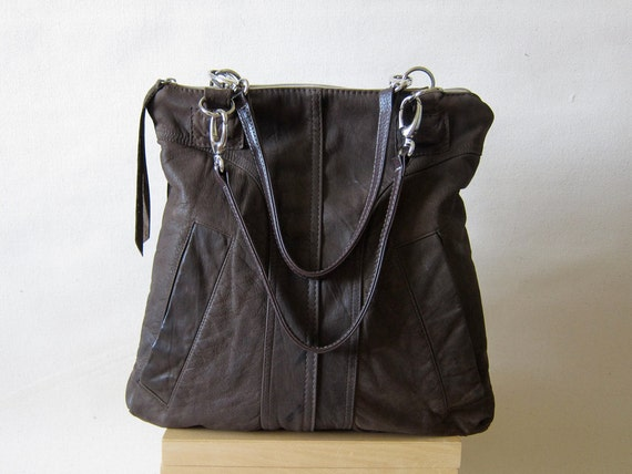 Recycled Leather Purse Tote from a Distressed Bomber Jacket