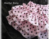 Ready to Ship Size 6-12 months Sassy Pants diaper Cover Ruffles Ruffles Ruffles Michael Miller Pink with Brown Polka Dots with Satin Rose