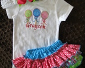 Sassy Pants Ruffle Diaper Cover & Bodysuit Set with 3 Lolipops Applique and Monogram Candy Shop 3