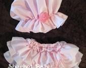 Pink Bo Peep Prairie Bonnet and Sassy Pants Ruffle  Diaper Cover Set