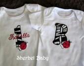 TShirt or Bodysuit Applique Letter or Number Monogram Ladybug Zebra or Fabric of Your Choice