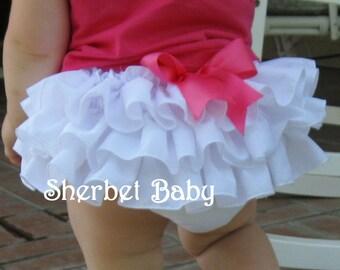 Handmade White Ruffled Bloomer with Bow Baby Toddler Girl