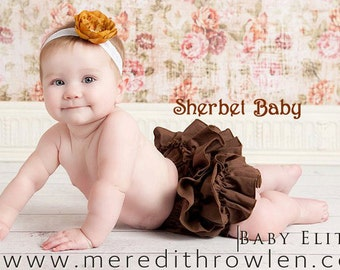 Sassy Pants Classic Style Ruffle Diaper Cover in Chocolate Brown