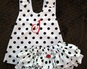 Pinafore and Ruffled Sassy Pants Diaper Cover Sundress Sunsuit Monogram Option Polka Dots Set
