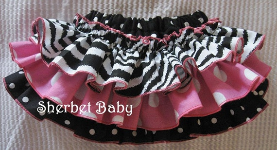 Sassy Pants Ruffled Diaper Cover Zebra Pink Black White Polka Dots Mix