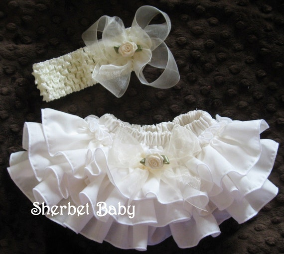 Cream / Ivory Headband Sheer Haribow and Sassy Pants Ruffle Diaper Cover Panty Bloomer