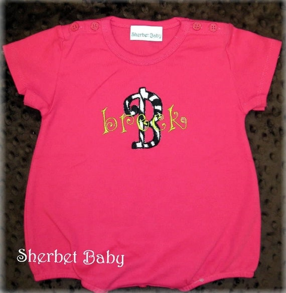 SALE - Monogram Bubble Romper in Hot Pink Applique Zebra Letter