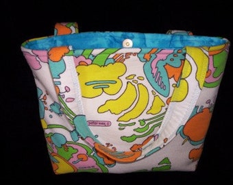 PETER MAX BLUE Pop Art Tote bag purse