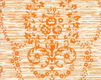 Three Yards Of Gorgeous And Bright Vintage Orange And White Damask Pattern Vinyl Wallpaper For Crafting