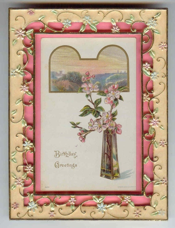 Gorgeous Gift Happy Birthday Framed Antique Postcard  Enameled Floral Frame SO Pretty
