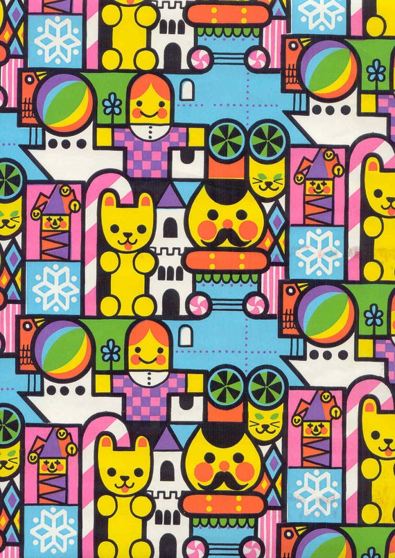Fabulous Vintage Wrapping Paper 2 Yds. Colorful Cute And Bright Reminiscent of It's A Small World