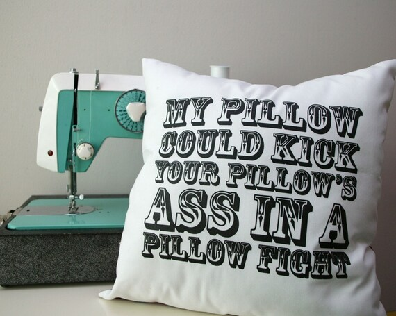 My Pillow Could Kick Your Pillows - white with purple plaid