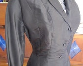 Vintage Norman's Black Long Jacket Small FREE SHIPPING