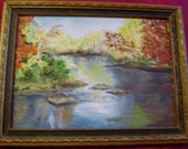 6 x 8  Small Original Oil Painting    Fall Foilege And Stream