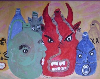 Southern Pottery Ugly Face Jug Painting Outsider Folk Art