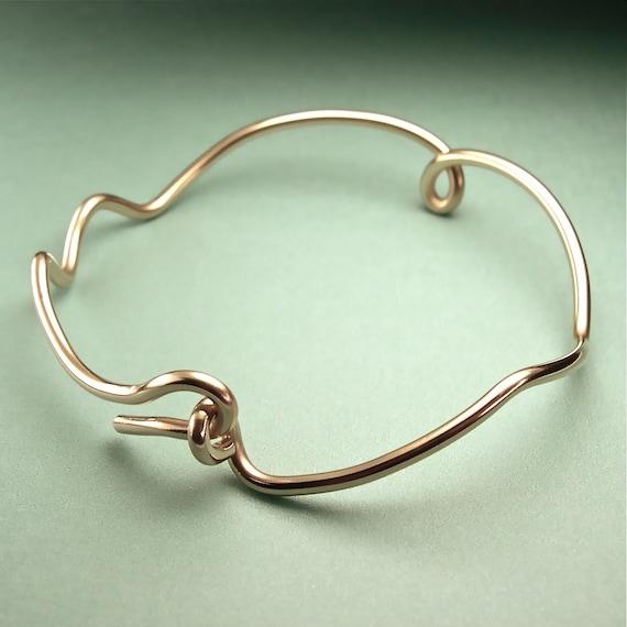 Gold Bangle Bracelet, 14K GF Bangle, Stacks, Opens, Sizes, Minimalist, Unique Original Modern Sculptural Design, Asymmetric Wrist Sculpture
