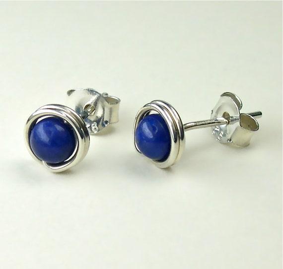 4mm Lapis Sterling Silver Stud Earrings, Modern Gemstone Posts / gift under 50
