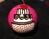 Our First Christmas- Wedding Cake Ornament-Fuchsia/Black (Item number 517)