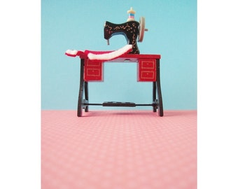 miniature sewing machine print