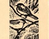 Chickadees Linocut print