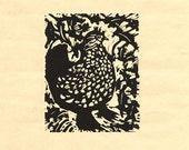 Black Spotted Hen, Linocut