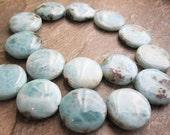 Larimar Beads, Luxe AAA, 24mm, Smooth Coin Shape, Aqua Color Gemstone, Loveofjewelry, Weddings, SKU 1258