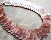 Pink Mother of Pearl Necklace with Toggle Closure also made of Pink Mother of Pearl