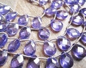 Cubic Zirconia Dazzling Amethyst Purple Faceted Pear Full Strand