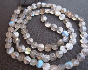 Faceted Labradorite Beads, 5mm Coin, Luxe AAA, Loveofjewelry, Weddings, SKU 813