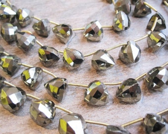 Pyrite Beads Briolettes, Luxe AAA, Faceted 3D Trillion Triangle, Trillion Triangle Briolettes, Fools Gold, Loveofjewelry, SKU 2994