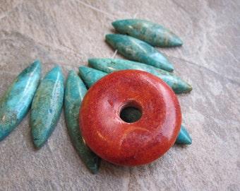 Sponge Coral Pendant, Sponge Coral Beads, Donut Shaped Pendant, 39mm, Loveofjewelry, SKU 3828